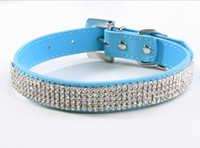 Wholesale Light Blue Color PVC Material Crystal diamond chain pet collar pet dog chain leash pet Collar