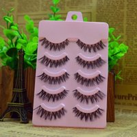 Wholesale 5 Pairs Handmade False Eyelashes Messy Cross Thick Natural Fake Eye Lashes Professional Makeup Tips Bigeye Long False Eye Lashes