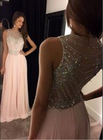 Wholesale A line Prom Dresses Scoop Sleeveless Cover Back Sweep Train Chiffon and Crystal Beaded Long Party Evening Dresses