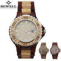 antique wood clocks - Top Brand Bewell Wooden Watch Casual Japan Quartz Wristwatch Calendar Men Women Unisex Clock Natural Wood Watch relogio W100B