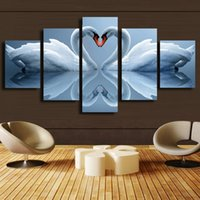 More Panel Digital printing Fashion 5 Panel Forest Painting Canvas Wall Art Picture Home Decoration Living Room Canvas Print Modern Painting--Large Canvas Art Cheap love Swan