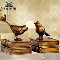 bamboo bookcases - Bookcases study bird ornaments Craft retro creative bookends Resin Crafts