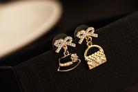 Compra Marcas sombrero-Alta calidad! Arco cristalino de la joyería de la manera con los pendientes del sombrero de los bolsos platean los pendientes clásicos de la marca de fábrica de la placa para las mujeres ER00452 2.2 * los 2cm