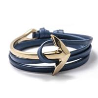 bend leather - Tom hope New Arrival Fashion Jewelry PU Leather Bracelet Men Half Bend Anchor Bracelet bracelet finding