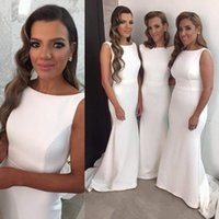 Wholesale Cheap Bridesmaid Dresses Long Crew Neck Mermaid Sweep Train Wedding Party Dress Vintage Satin Evening Prom Formal Gowns Wear Custom