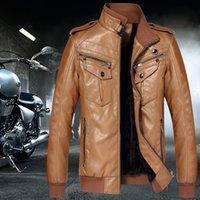 Wholesale 2016 winter PU Leather Motorcycle Jacket Street Fashion Punk leather jacket for Young men Slim Casual Coats Khaki Plus Size XL