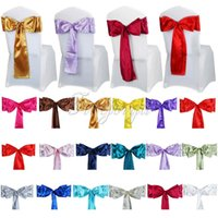 banquet chair ties - 1PCS Satin Chair Sash Bow cm x cm For Banquet Event Wedding Party Bow Ties Butterfly Craft Decoration