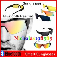 Wholesale Sunglasses Bluetooth Headset Wireless Outdoor Sports Headphone Sunglass Stereo Handsfree Earphones Mp3 Music Player With Retail Package