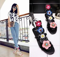 Wholesale 2016 new WOMEN leather sandals flat with peep toe bind female flowers with flat flat sandals
