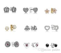 amber jewlery - Fits pandora Stud Earrings hot European silver Earring For Lady Earrring Stud Charming Women Earrings Jewlery pairs Free ship