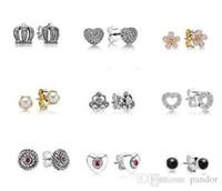 amber jewlery - NEW pandora Stud Earrings hot European silver Earring For Lady Earrring Stud Charming Women Earrings Jewlery pairs Free ship