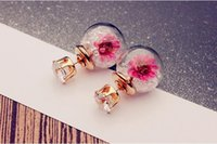 Wholesale Hot Selling Double Sided Earrings for Women Glass with Flowers Ball Earring Fashion Jewelry European Cute Stud Earing Christmas Gift
