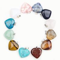al por mayor colgante de collar de perlas sueltas-Corazón de piedra naturales de piedras preciosas colgantes de los encantos altamente pulido granos flojos de plata chapado gancho pulseras aptas y accesorios collar de