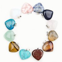 Charms beads and stone necklace - Heart natural Stone Gemstone Charms Pendants High Polished Loose Beads Silver Plated Hook Fit Bracelets and Necklace Jewelry accessories