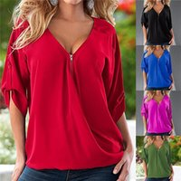 Wholesale New Arrivals Women s Lady s Loose Tops Shirts Blouses Sleeve Sexy V Neck Casual Fashion Nylon Soild ED273