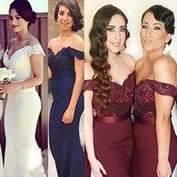 Cheap White Long Formal Dresses for Women Lace Off Shoulder Mermaid Sweep Train Corset Bridesmaid Dresses Covered Button Back Sweep Train 6962
