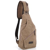 Wholesale Men Vintage Canvas Shoulder Fitness Carry Bags Messenger Bag Travel Chest Pack Casual Military