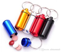 Wholesale Aluminum middle Pill Box Case Bottle Holder Container Keychain New and High Quality mm