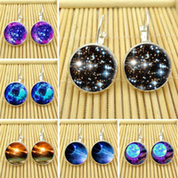 alphabet photo - Fashion New Galaxy Space Stud Earring For Women Glass Cabachon Bezel Brincos Perola Art Photo Dome Round Earrings