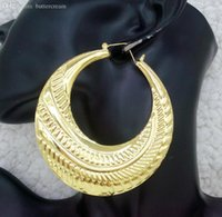 bamboo hoop earings - Hip Hop New K Gold Plated Big Bamboo Hoop Earrings for Women Brincos Grandes Big Earings Fashion Jewelry Bijoux Earing