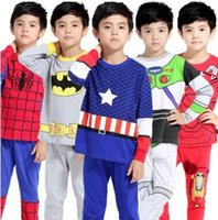 babies mario - Kids Clothing Baby Christmas Pajamas Cotton Super Mario Frozen Batman Clothes Suit Boys Girls shirt Pants Children Pjs Sets