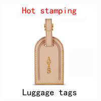 Wholesale luggage tag famous brand Keepall bag Fitting add hot stamping Name initials Oxidation cowhide Personalized custom travel label