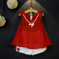 american doll costumes - Girl Set Brand Costume Sets Chiffon Doll Collar T shirt Bow Short Pant Casual Girl Wear Kid Children Clothing Sets