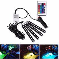 Wholesale 4Pcs V Car RGB LED DRL Strip Light SMD Car Auto Remote Control Decorative Flexible LED Strip Atmosphere Lamp Kit Fog Lamp