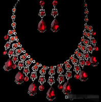 artificial necklace set - 2016 Cheap Red Fashion bridal jewelry sets Luxury artificial rhinestone alloy plated necklace and earrings piece in so57