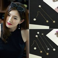 Wholesale New fashion Star With Money Sliver Plated Pearl Star Ear Line Drop Earrings For Woman