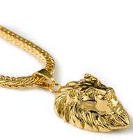 african white lions - High quality K Gold Plated mens Hip hop Lion head crown Rhinestone necklace Rap Golden King lion Pendants kings Snake Chain Necklace Men