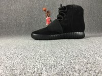 Wholesale 2016 Fashion Triple Black Boost Kanye Sneakers Boots Shoes Mens and women s pure boost Basketball Shoes high Running Sports Shoee