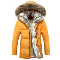 Wholesale Men s Duck Down Jacket Real Rabbit Fur Collar Winter Parkas Hood Snow Coats Outwear Overcoat Husband s Lover s Gift xl