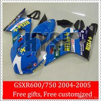 Precio de Suzuki gsxr750 fairing-Azul oscuro Rizla 04 05 De Suzuki GSXR 600 GSXR 750 K4 carenado kits GSXR600 GSXR750 2004 2005 GSX-R600 GSX-R750 personalizada OEM Pintura