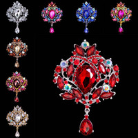 banquet gifts - Luxury Rhinestone crystal flower Drop brooch Pins Corsage lapel pins for women banquet Wedding jewelry Christmas gift