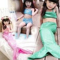 Wholesale Hot sell Girls Kids Costume Swimwear Mermaid Tail Swimmable Swimsuit Bikini Set sets drop shipping