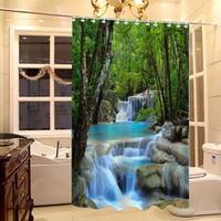 Wholesale Waterfalls Nature Scenery Shower Curtain Bathroom Waterproof Fabric Inch Set