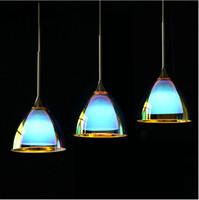 Wholesale Modern LED Pendant Lamp Fixtures Bar Counter Cord Pendant Light Dining Room Restaurant Creative Blue Glass Pendant Light