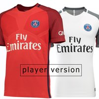 Wholesale 2017 Player Version Soccer Jersey Paris Away Red rd White Soccer Jerseys Paris Player Football Shirts Thai Quality Jeresys