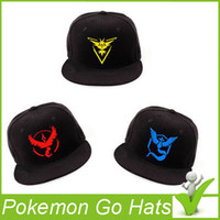 Wholesale Poke Go Baseball Hat Adult Poke Go Baseball Caps Team Mystic InstInct Valor Blue Yellow Red Embroider Cap