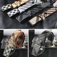 Cinturones de tela escocesa del diseñador para los hombres de cuero de vaca lujo de la marca mujeres de cuero genuinos de las correas Hebilla lona de alta calidad Ceinture Homme Feamle Cintos