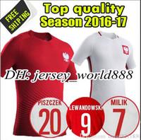 Wholesale Top Thai quality Euro Cup Poland Home white Soccer Jersey Home Polska Lewandowski Piszczek Koszulki Away red Football shirt