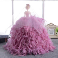 bean manufacturers - Manufacturers selling handmade luxury neat feather dress barbie doll dress upscale gift birthday married children color red bean paste