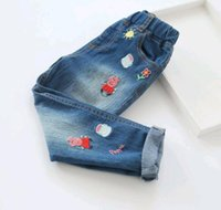 Wholesale QX Fashion Girls Jeans Blue Demin Pans Cartoon Embroidery Korean Style Pockets Casual Brand Cozy Pans Sport Streetwear