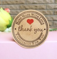 Wholesale Retro Kawaii quot Thank you quot Round Kraft Seal sticker For handmade products Handmade with Love stickers lable
