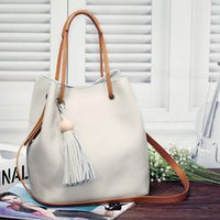 american nylon - 2016 Top Fashion Totes Light Grey Black Pink Hasp New Fashion Ladies Leather Handbag Tassel All match Head Layer Cowhide Bucket Shoulder Bag