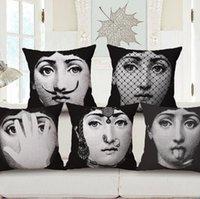 Wholesale Vintage Fornasetti Art Beauty Face SKULL Custom Pillow Cover Black and White Pillow Case Pillow Cover Decorative Pillowcase