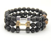 Wholesale 2016 New Arrival Mens Bracelets mm Lava Rock Stone Beads Platinum Fitness Fashion Fit Life Dumbbell Bracelets