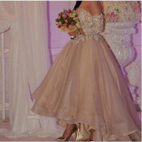 Cheap 2016 Champagne Organza A line Arabic High Low Prom Party Dress Long Sleeve Lace Sequined Saudi Arabia Evening Dresss Vestidos De Formatura
