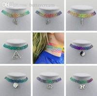 Wholesale Handmade Hot Selling Vintage Stretch Tattoo Choker Necklace Gothic Punk Grunge Henna Elastic with Choker Pendant Necklaces